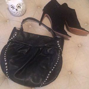 Preloved B Makowsky black leather stud hobo